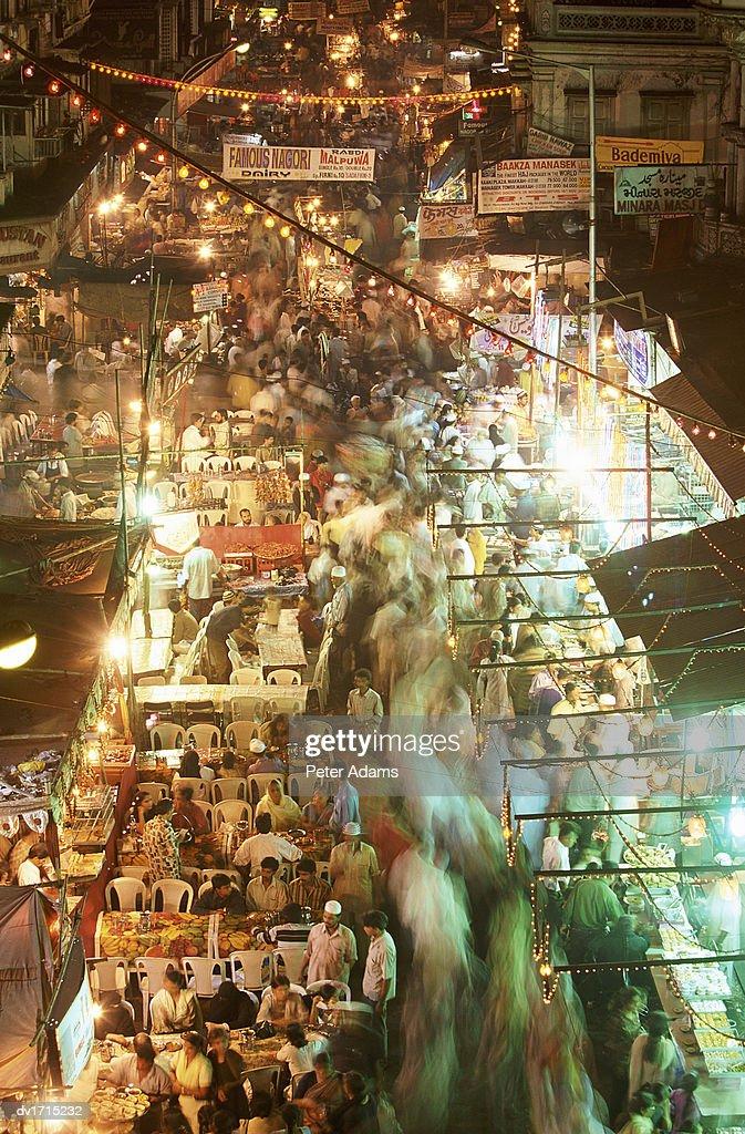Market Stalls at Night, Mumbai, India : Stock Photo