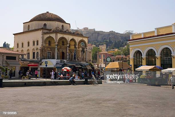 Market stalls in front of a mosque, Monastiraki, Athens, Greece