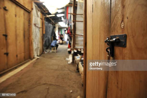 Market stores remain closed and padlocked following post election unrest inside the Toi market in the outskirts of Kibera slum in Nairobi Kenya on...
