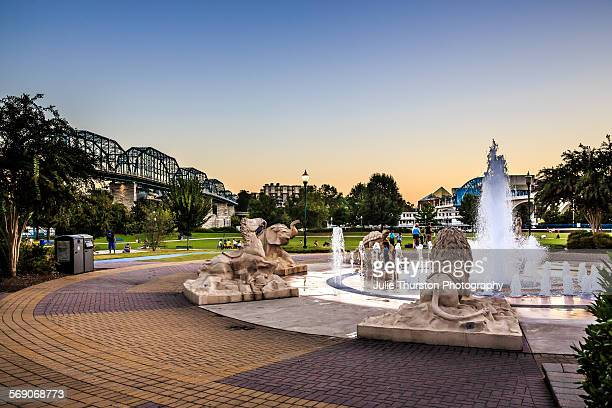 Market Street Bridge over river from Coolidge Park to downtown Chattanooga Tennessee Aquarium the hometown city where 4 Marines a Navy Service Member...