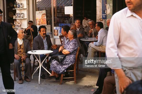 Market street scene in Heraklion Crete May 1989