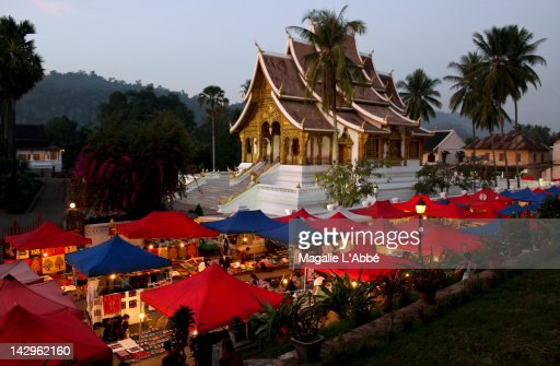 Market with temple : Stock Photo