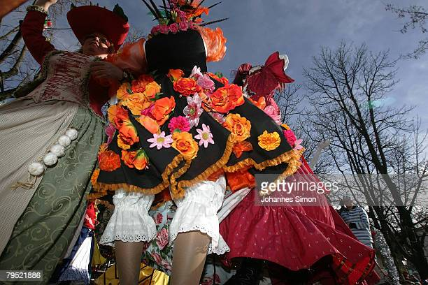 Market women in disguise dance during the traditional Shrove Tuesday 'Market Women's Dance' at the Viktualien Market on February 5 2008 in Munich...