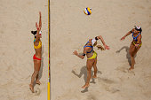 Marketa Slukova of Czech Republic spikes against Ningya Tang of China during FIVB World Continental Cup Olympic Qualification on July 10 2016 in...