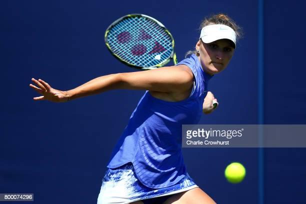Marketa Vondrousova of Czech Republic in action during her women's qualifying match against Tsvetana Pironkova of Bulgaria during qualifying on day...