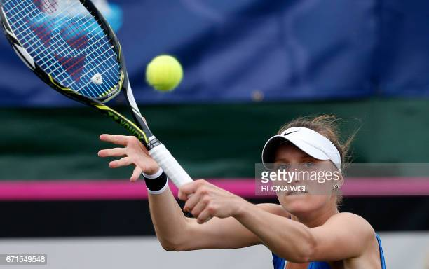 Marketa Vondrousova of Czech Republic returns the ball to Coco Vandeweghe of the USA during their semifinals Fed Cup match match in Tampa Florida...