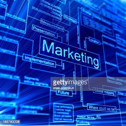 Marketing 3d flowchart on a blue backgroud