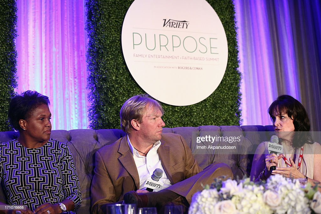 SVP Marketing at 20th Century Fox Rio Cyrus, Founder Movie to Movement Jason Jones and Co-Founder & President of Mission Pictures International Chevonne O'Shaughnessy speak onstage at Variety's Purpose: The Faith And Family Summit n Association with Rogers and Cowan at Four Seasons Hotel Los Angeles on June 21, 2013 in Beverly Hills, California.