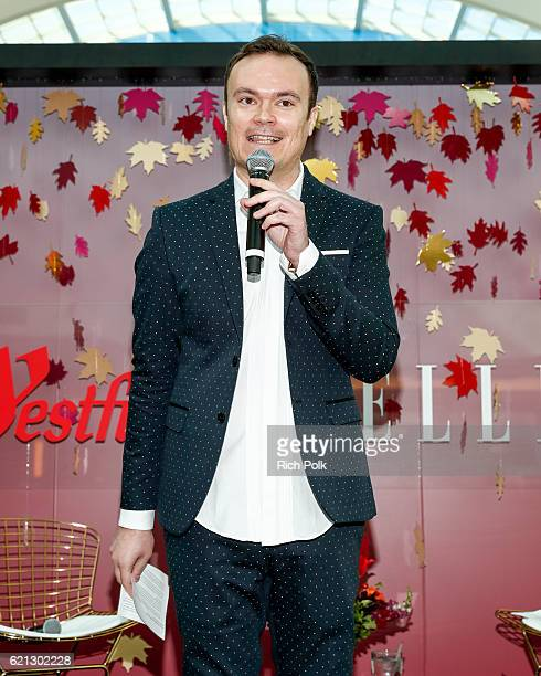 Marketing director for Topanga The Village Promenade Greg Udchitz speaks on stage at the Westfield Topanga x Ellecom Fall Trend Report at Westfield...