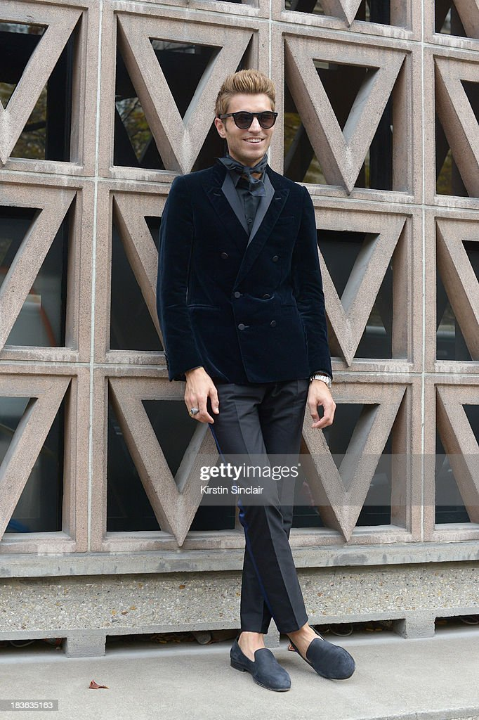 Marketing director Frol Burimskiy wearing Balenciaga shirt and trousers and Lanvin jacket and shoes on day 9 of Paris Fashion Week Spring/Summer 2014, Paris October 02, 2013 in Paris, France.