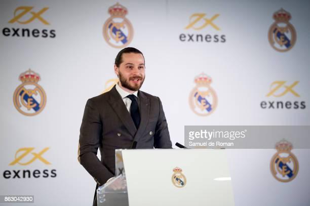 Marketing Director of Exness Igor Rudi during the Real Madrid and Exness partnership presentation at Estadio Santiago Bernabeu on October 19 2017 in...