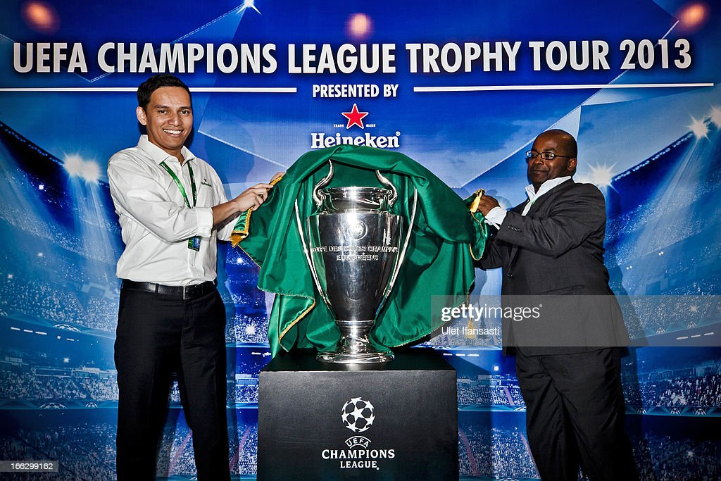 Marketing Director of PT. Multi Bintang Indonesia Niaga (Heineken Indonesia), Toni Darusman (L) and UEFA Media Officer, Amanuel Abate attend the Trophy Tour Press Conference as part of the UEFA Champions League Trophy Tour 2013 presented by Heineken at Gandaria City Shopping Mall on April 11, 2013 in Jakarta, Indonesia.
