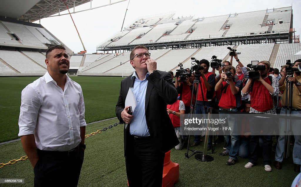 Marketing Director Thierry Weil and Ronaldo Luis Nazario, LOC Member take a tour of the brand new Arena Sao Paulo during the 2014 FIFA World Cup Host City Tour on April 22, 2014 in Sao Paulo, Brazil.