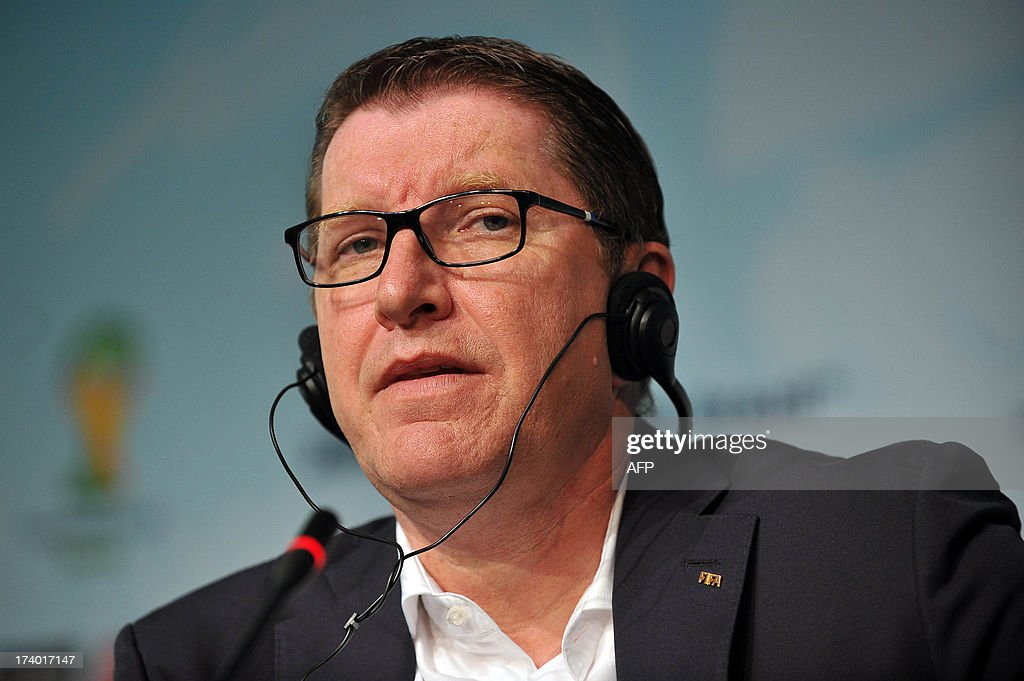 Marketing Director Thierry Weil attends a press conference to announce the ticketing strategy for the 2014 FIFA World Cup on July 19, 2013, in Sao Paulo, Brazil.