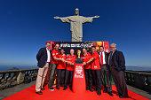 FIFA Marketing Director Thierry Weil Brazilian FIFA World Cup winners Marcos Amarildo Zagallo Rivelino and Bebeto Coca Cola VP Michael Davidovich and...