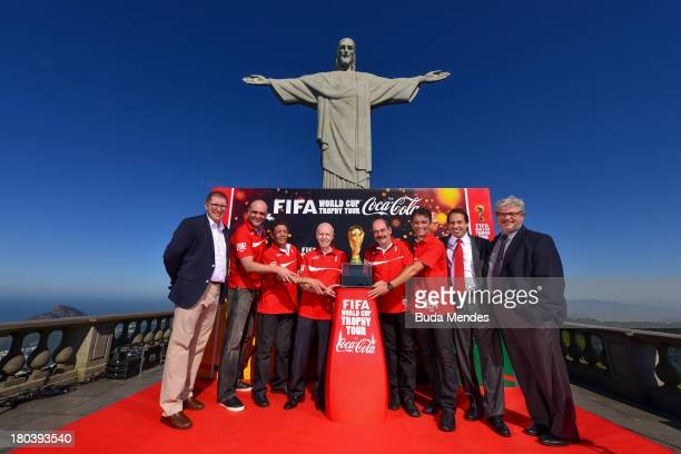 FIFA Marketing Director Thierry Weil Brazilian FIFA World Cup winners Marcos Amarildo Zagallo Rivelino and Bebeto Coca Cola VP Michael Davidovich and...