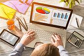 Graph Marketing Digital Analysis Finance Concept -  Stock Image