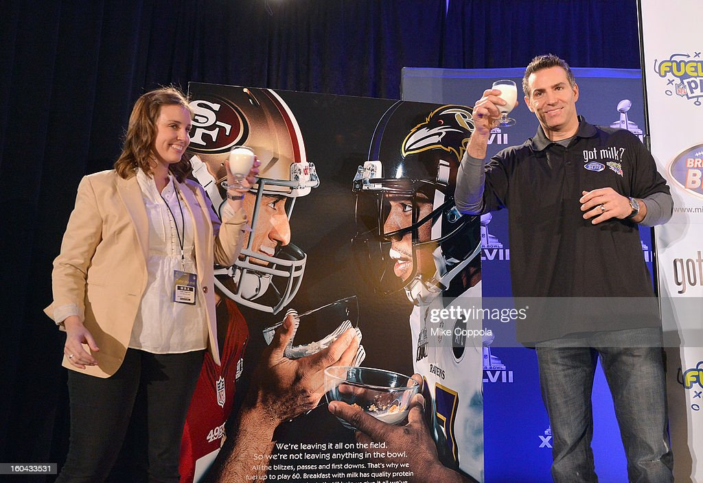 Marketing Manager, MilkPEP Katie DeGenova and <a gi-track='captionPersonalityLinkClicked' href=/galleries/search?phrase=Kurt+Warner&family=editorial&specificpeople=202571 ng-click='$event.stopPropagation()'>Kurt Warner</a> unveil new milk mustache 'Got Milk?' Super Bowl ad at Super Bowl XLVII Media Center on January 31, 2013 in New Orleans, Louisiana.