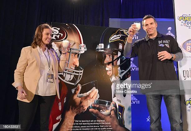 Marketing Manager MilkPEP Katie DeGenova and Kurt Warner unveil new milk mustache 'Got Milk' Super Bowl ad at Super Bowl XLVII Media Center on...