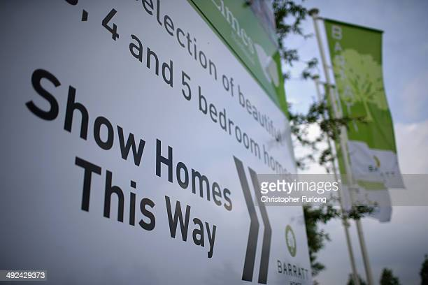 Marketing signs point the way to new homes on a housing development on May 20 2014 in Middlewich England Official figures have shown that house...