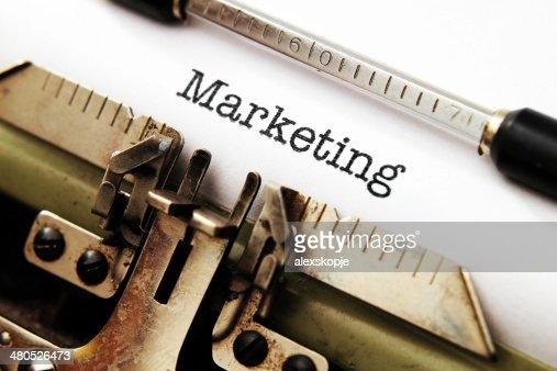 Marketing-text auf Schreibmaschine : Stock-Foto