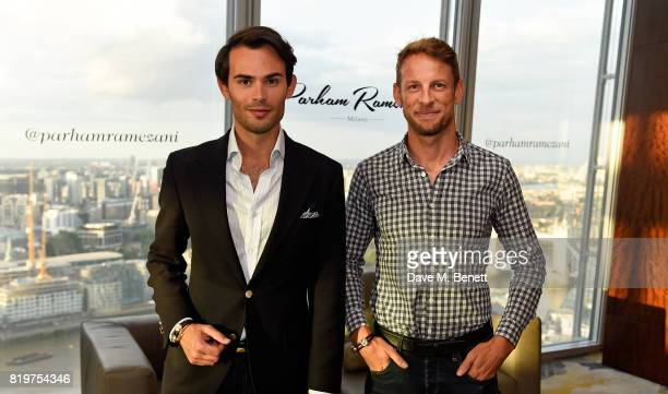 MarkFrancis Vandelli and Jenson Button attend Parham Ramezani X Jenson Button jewellery launch at The Shard on July 20 2017 in London England