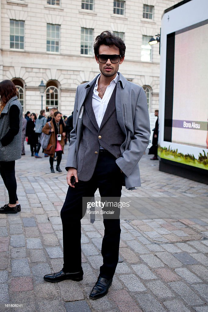 Mark-Francis Vandelli jewelry designer and editor in chief of Insider wearing all Valentino with Gucci glasses on day 1 of London Womens Fashion Week Autumn/Winter 2013 on February 15, 2013 in London, England.