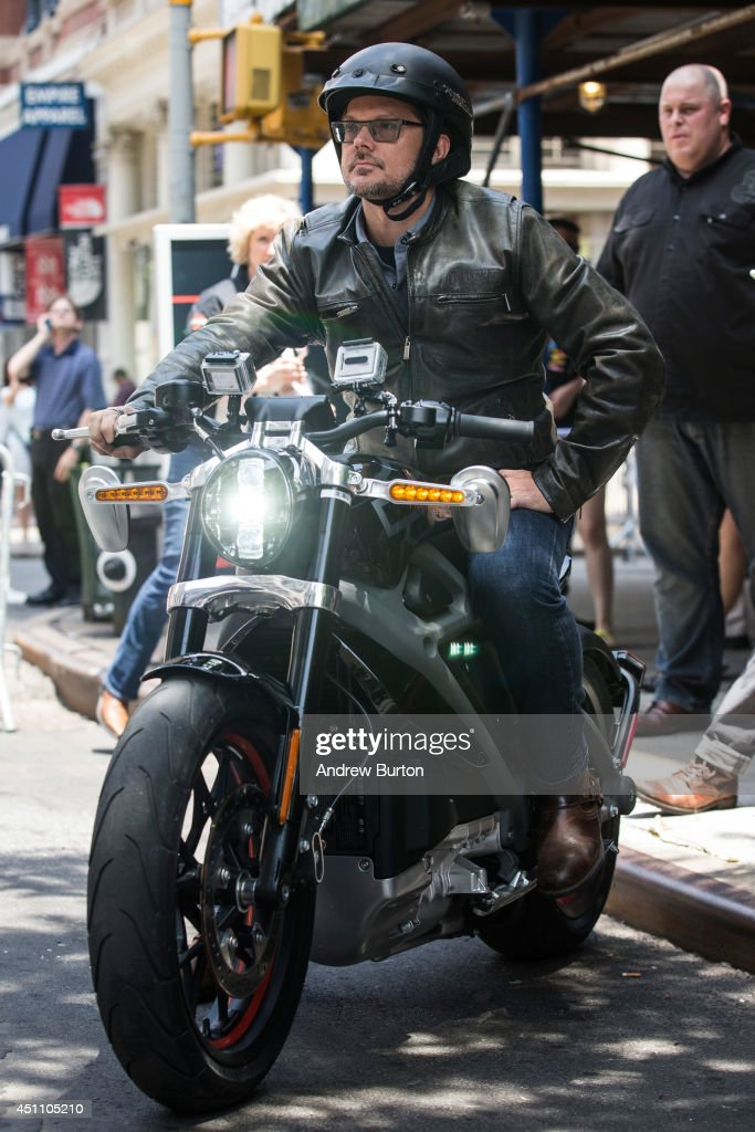 Mark-Hans Richer, Harley Davidson's chief marketing officer, rides a Harley Davidson Livewire motorcycle, the company's first electric bike, at a press conference at the Harley Davidson Store on June 23, 2014 in New York City. The Livewire has 74 horsepower and a top speed of 92 miles per hour.