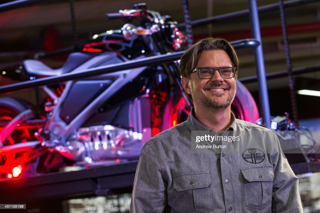 Mark-Hans Richer, Harley Davidson's chief marketing officer, speaks at a press conference unveiling the Harley Davidson Livewire motorcycle, the company's first electric bike, at the Harley Davidson Store on June 23, 2014 in New York City. The Livewire has 74 horsepower and a top speed of 92 miles per hour.