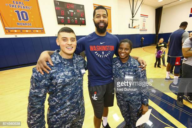 Markieff Morris and Jason Smith of the Washington Wizards participate in an open practice for military veterans on November 10 2017 in Washington DC...