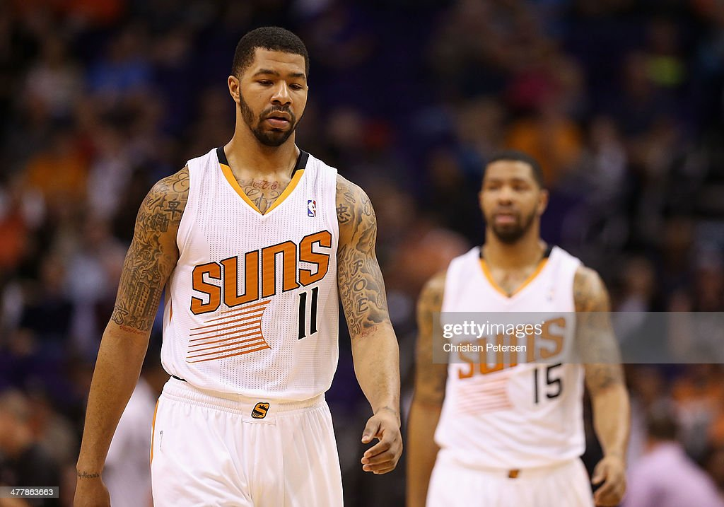 Markieff Morris and Marcus Morris of the Phoenix Suns during the NBA game against the Miami Heat at US Airways Center on February 11 2014 in Phoenix...