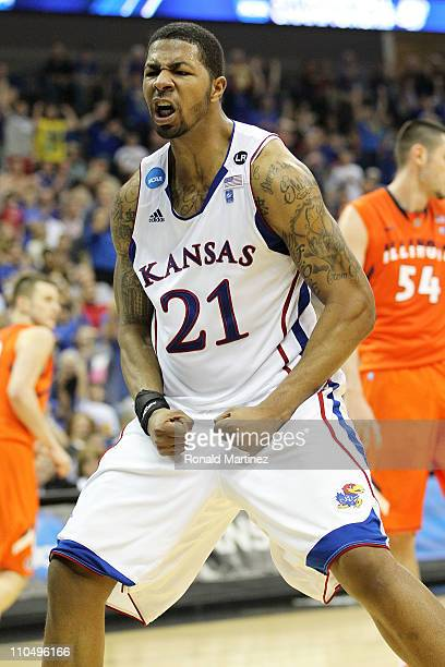Markieff Morris of the Kansas Jayhawks celebrates after a dunk against the Illinois Fighting Illini during the third round of the 2011 NCAA men's...