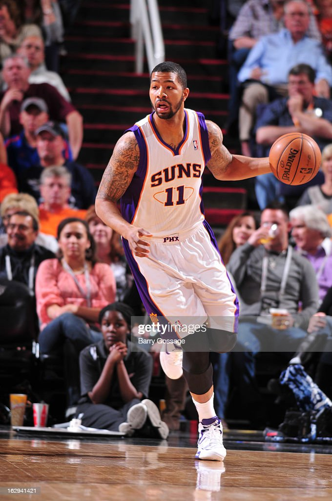 Markieff Morris #11 of the Phoenix Suns brings the ball upcourt against the Atlanta Hawks on March 1, 2013 at U.S. Airways Center in Phoenix, Arizona.