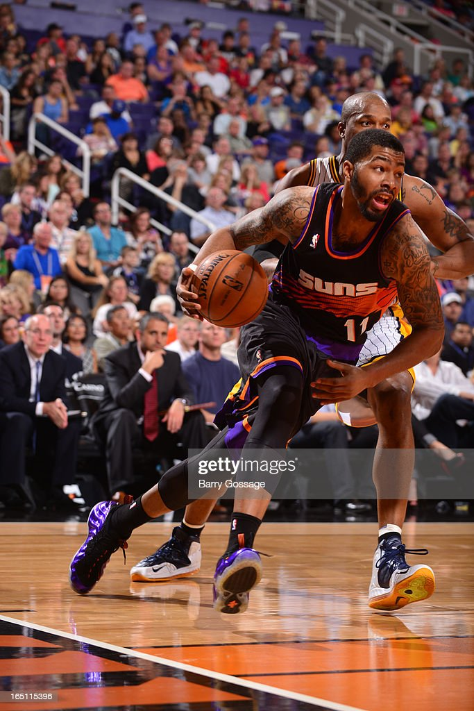 Markieff Morris #11 of the Phoenix Suns drives against the Indiana Pacers on March 30, 2013 at U.S. Airways Center in Phoenix, Arizona.