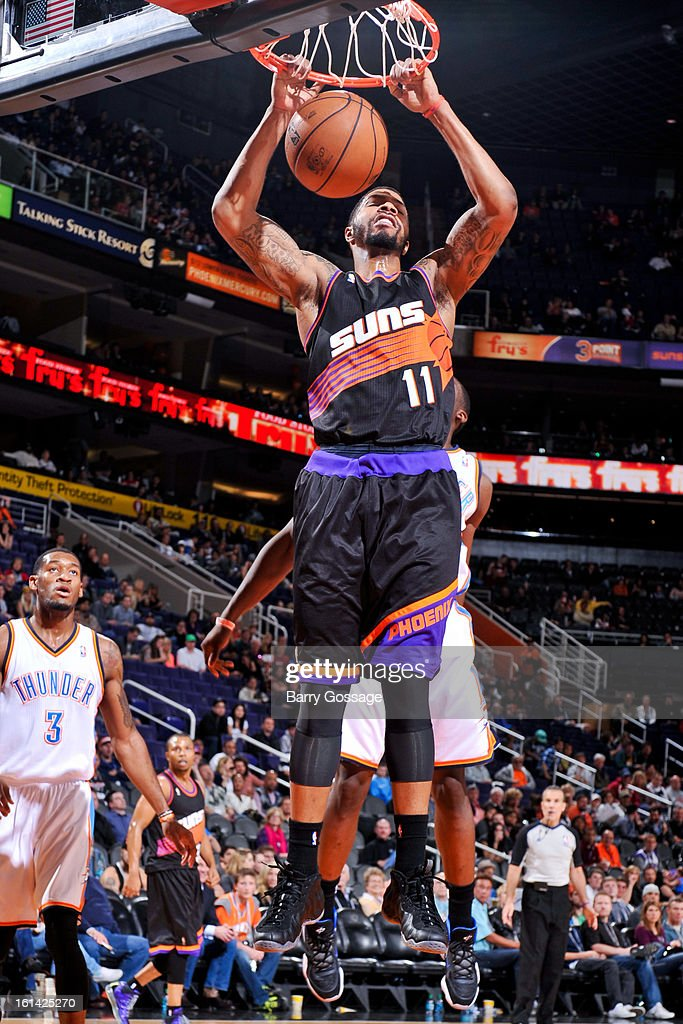 Markieff Morris #11 of the Phoenix Suns dunks against the Oklahoma City Thunder on February 10, 2013 at U.S. Airways Center in Phoenix, Arizona.