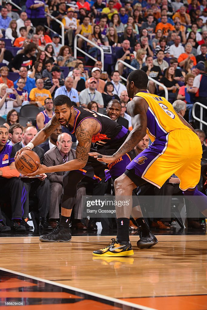 <a gi-track='captionPersonalityLinkClicked' href=/galleries/search?phrase=Markieff+Morris&family=editorial&specificpeople=5293881 ng-click='$event.stopPropagation()'>Markieff Morris</a> #11 of the Phoenix Suns goes baseline against the Los Angeles Lakers on March 18, 2013 at U.S. Airways Center in Phoenix, Arizona.
