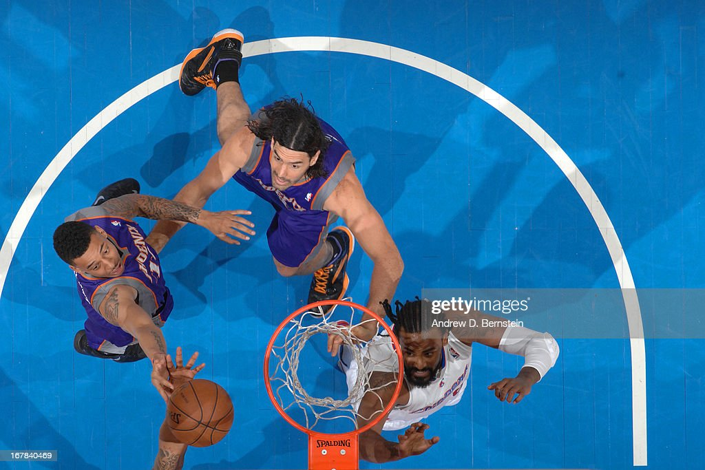 <a gi-track='captionPersonalityLinkClicked' href=/galleries/search?phrase=Markieff+Morris&family=editorial&specificpeople=5293881 ng-click='$event.stopPropagation()'>Markieff Morris</a> #11 of the Phoenix Suns goes up for a rebound against the Los Angeles Clippers at Staples Center on April 3, 2013 in Los Angeles, California.