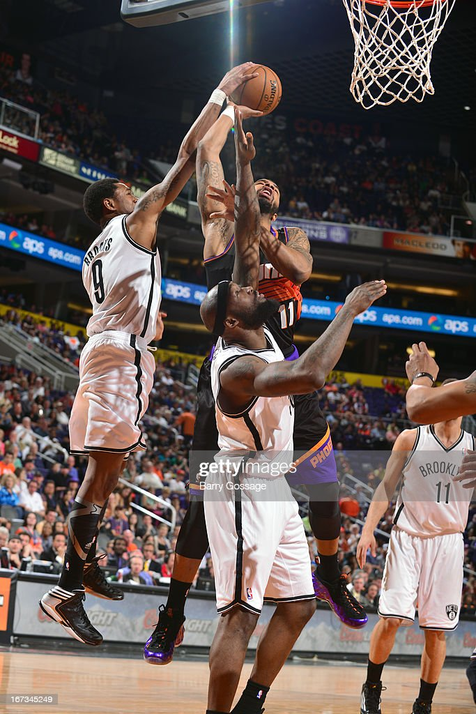 <a gi-track='captionPersonalityLinkClicked' href=/galleries/search?phrase=Markieff+Morris&family=editorial&specificpeople=5293881 ng-click='$event.stopPropagation()'>Markieff Morris</a> #11 of the Phoenix Suns grabs a rebound against the Brooklyn Nets on March 24, 2013 at U.S. Airways Center in Phoenix, Arizona.