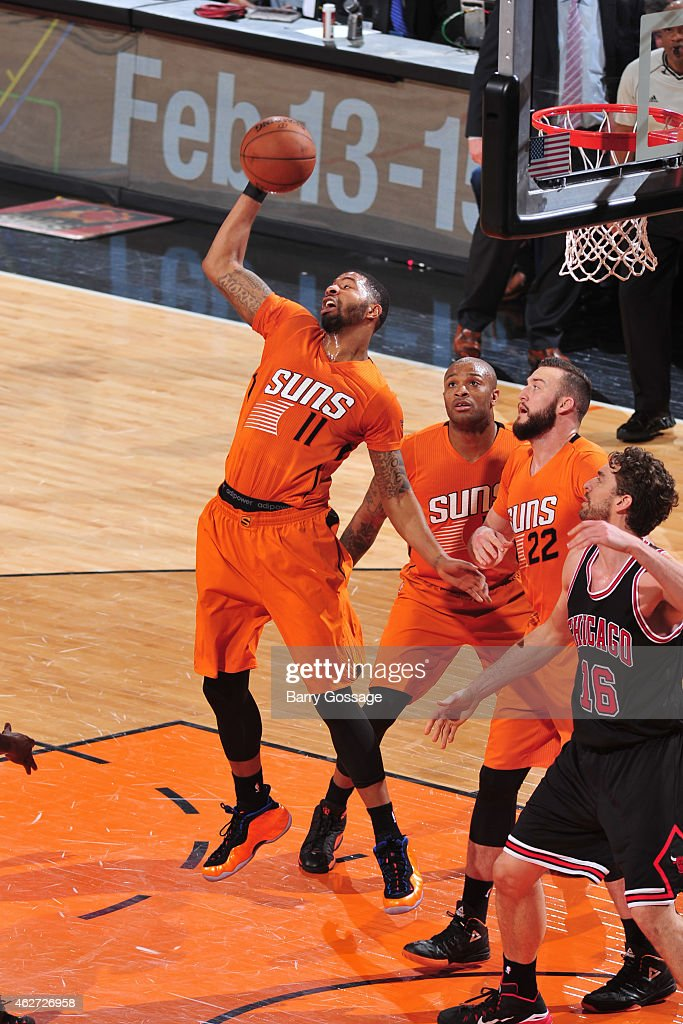 Markieff Morris #11 of the Phoenix Suns grabs a rebound against the Chicago Bulls on January 30, 2015 at U.S. Airways Center in Phoenix, Arizona.