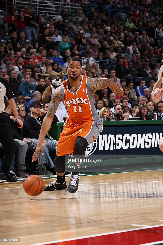 Markieff Morris #11 of the Phoenix Suns handles the ball against the Milwaukee Bucks on January 8, 2013 at the BMO Harris Bradley Center in Milwaukee, Wisconsin.