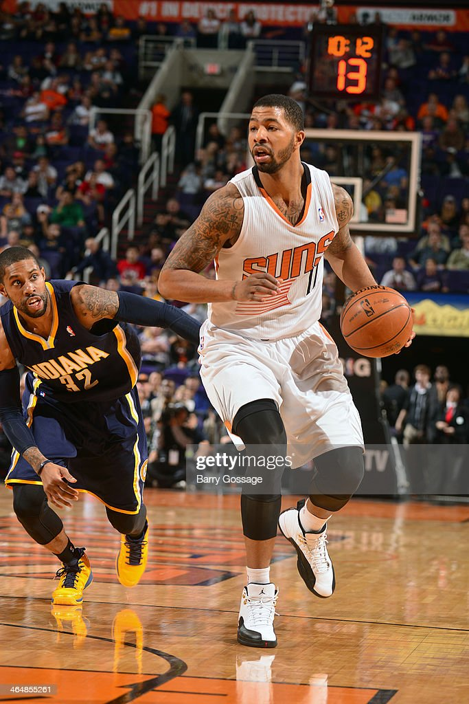 <a gi-track='captionPersonalityLinkClicked' href=/galleries/search?phrase=Markieff+Morris&family=editorial&specificpeople=5293881 ng-click='$event.stopPropagation()'>Markieff Morris</a> #11 of the Phoenix Suns handles the ball against the Indiana Pacers on January 22, 2014 at U.S. Airways Center in Phoenix, Arizona.
