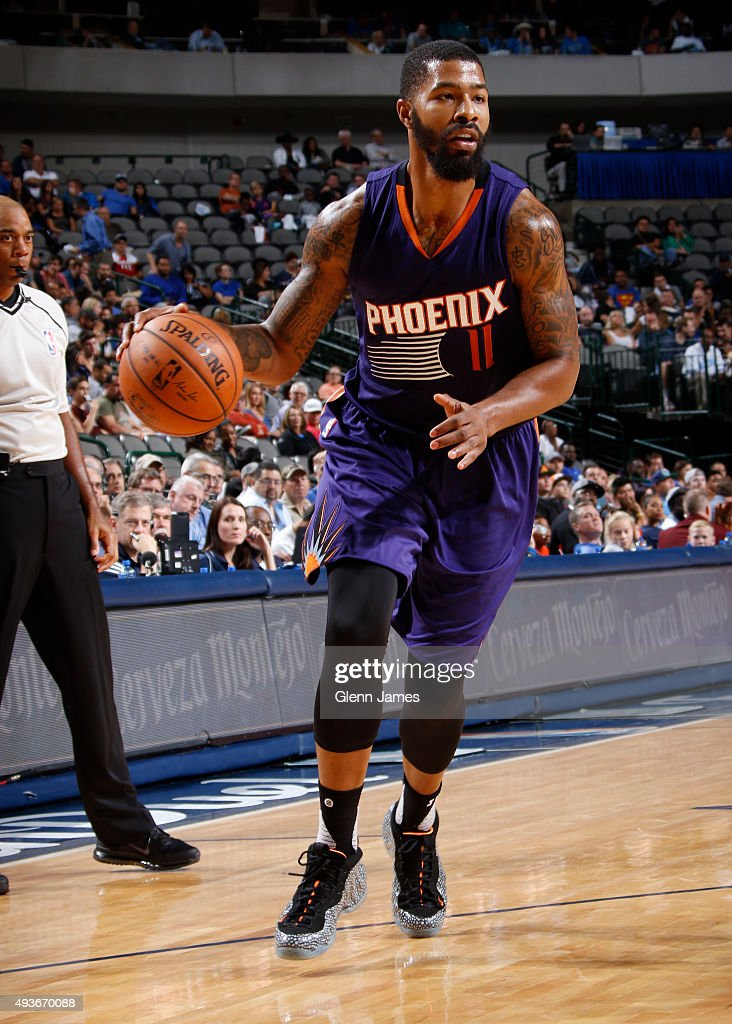 Markieff Morris of the Phoenix Suns handles the ball against the Dallas Mavericks on October 21 2015 at the American Airlines Center in Dallas Texas...