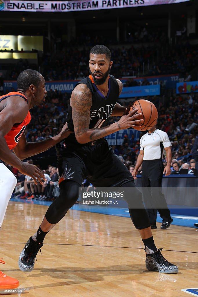 Markieff Morris of the Phoenix Suns handles the ball against the Oklahoma City Thunder on November 8 2015 at Chesapeake Energy Arena in Oklahoma City...