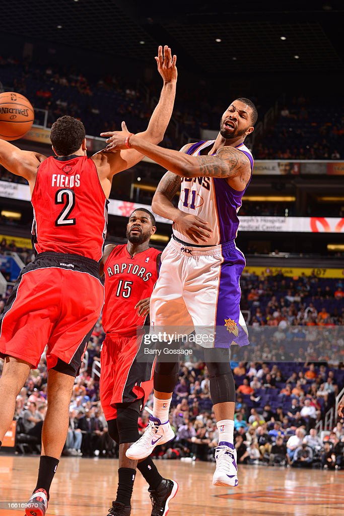 Markieff Morris #11 of the Phoenix Suns passes the ball against the Toronto Raptors on March 6, 2013 at U.S. Airways Center in Phoenix, Arizona.