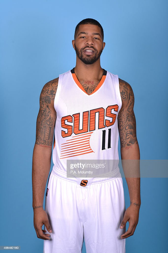 Markieff Morris of the Phoenix Suns poses for a picture at Phoenix Suns Media Day on September 29 2014 at US Airways Center in Phoenix Arizona NOTE...