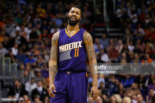 Markieff Morris of the Phoenix Suns reacts during the NBA game against the Golden State Warriors at Talking Stick Resort Arena on February 10 2016 in...