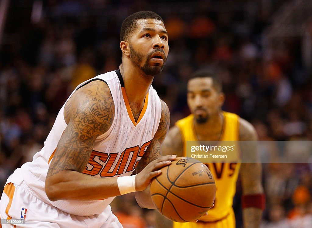 Markieff Morris of the Phoenix Suns shoots a free throw shot against the Cleveland Cavaliers during the NBA game at US Airways Center on January 13...