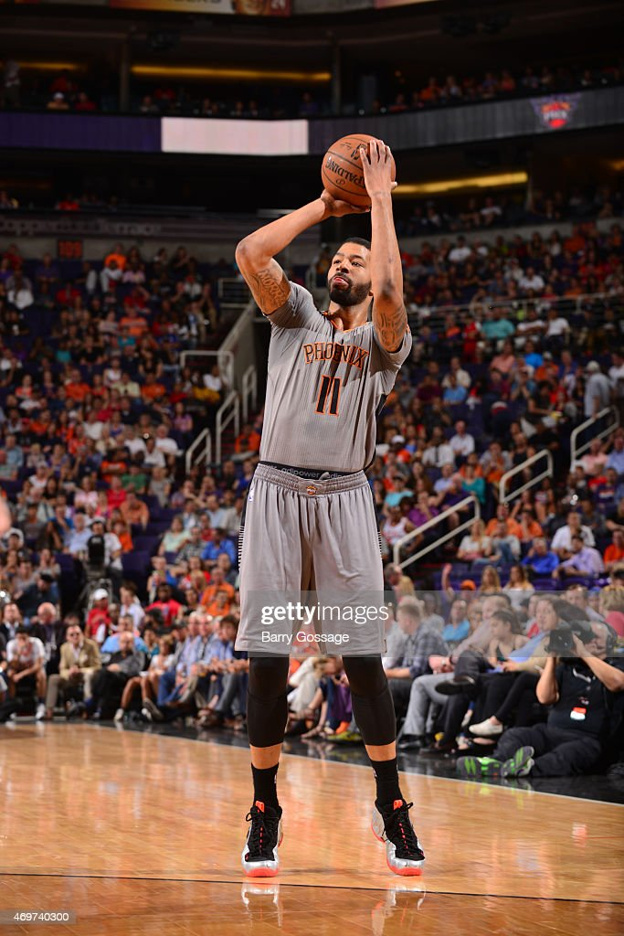 Markieff Morris of the Phoenix Suns shoots against the Los Angeles Clippers on April 14 2015 at US Airways Center in Phoenix Arizona NOTE TO USER...