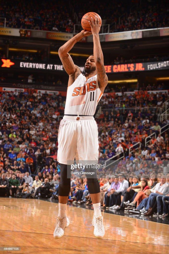 Markieff Morris #11 of the Phoenix Suns takes a shot against the Oklahoma City Thunder on April 6, 2014 at U.S. Airways Center in Phoenix, Arizona.