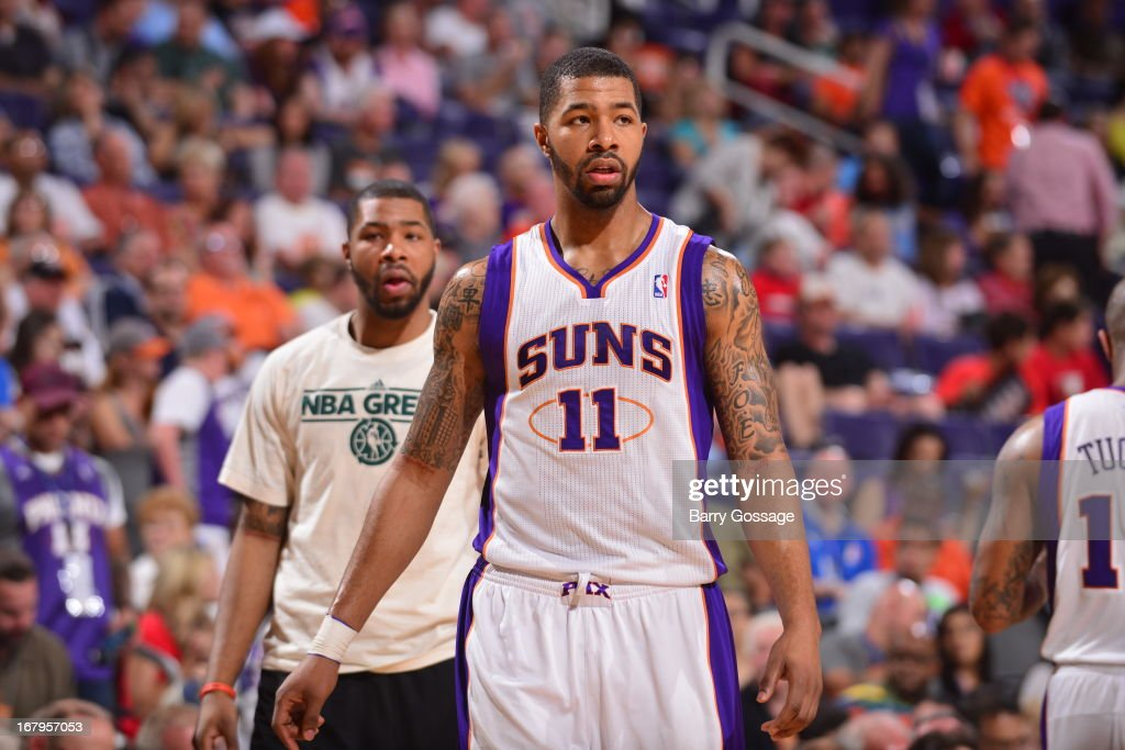 <a gi-track='captionPersonalityLinkClicked' href=/galleries/search?phrase=Markieff+Morris&family=editorial&specificpeople=5293881 ng-click='$event.stopPropagation()'>Markieff Morris</a> #11 of the Phoenix Suns walks off the court during the game against the New Orleans Hornets on April 7, 2013 at U.S. Airways Center in Phoenix, Arizona.